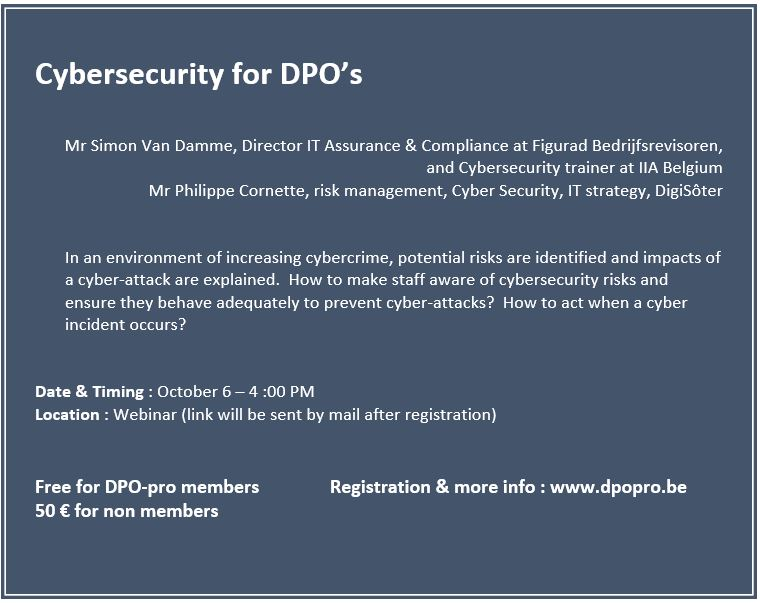 Cybersecurity for DPO's: Presentation & recording